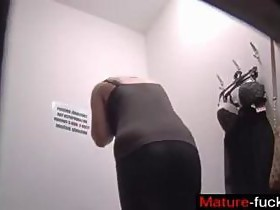 blonde slut has a hidden cam on her in the changing room